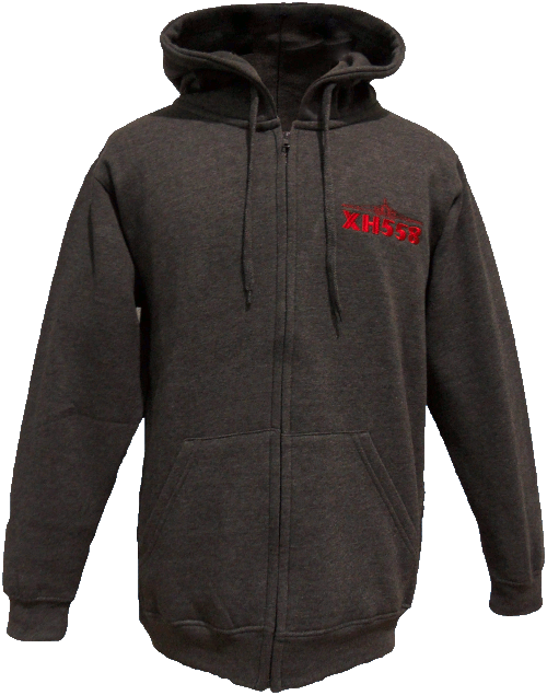 Zipped Hooded Sweatshirt - Charcoal - XH558